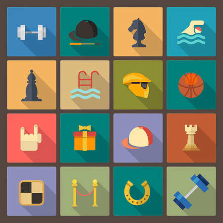 Vector set of sixteen sport icons in flat design style Illustration