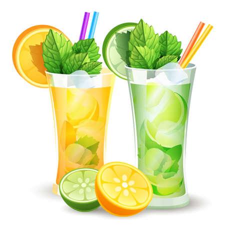 illustration of lemon and orange cocktails and citrus slices Illustration