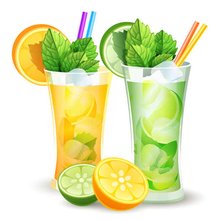 mojito: illustration of lemon and orange cocktails and citrus slices Illustration