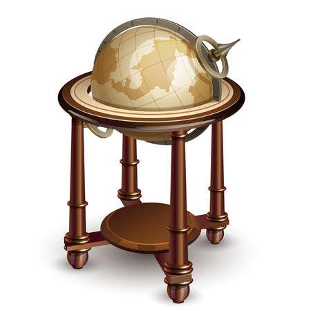 photorealism: illustration of vintage globe on white background