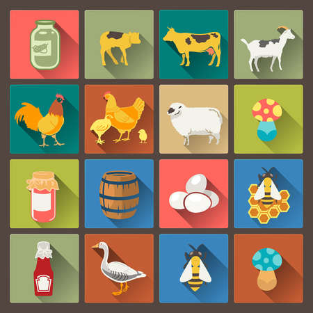 vector set of sixteen farm icons in flat design style Vector