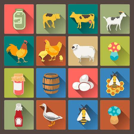 vector set van zestien boerderij pictogrammen in platte design stijl