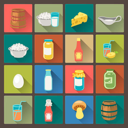vector set of sixteen farm food icons in flat design style Vector