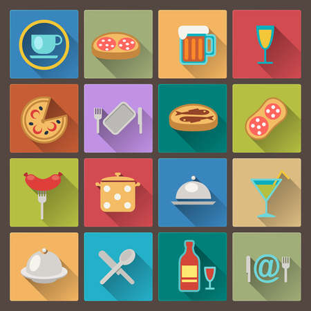 vector set of dish and food icons in flat design style