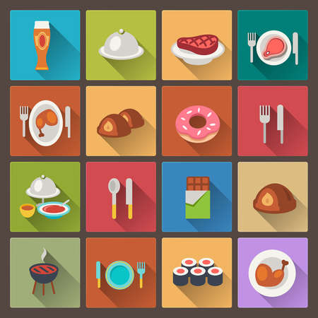 vector set of grill and sweets icons in flat design style Vector