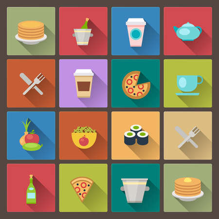 vector set of drink and food icons in flat design style Vector