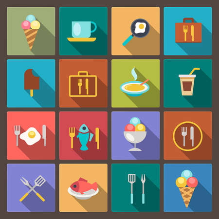 vector set of food and drink icons in flat design style