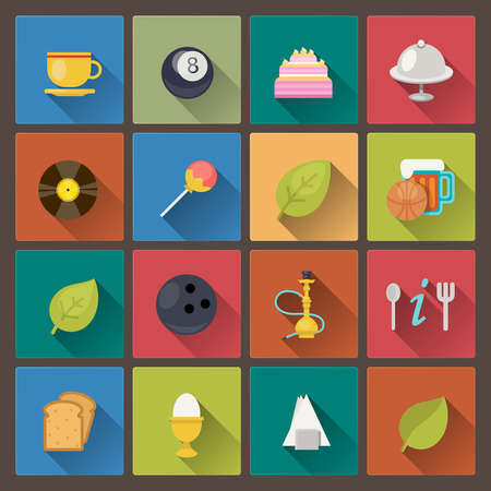Vector set of food and entertainment icons in flat design style Vector
