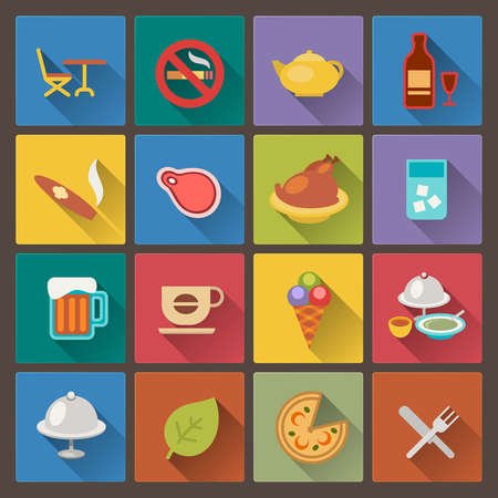 Vector set of food and alcohol drink icons in flat design style Vector