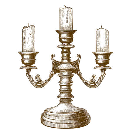 vector illustration of antique print of candlestick, isloated on white