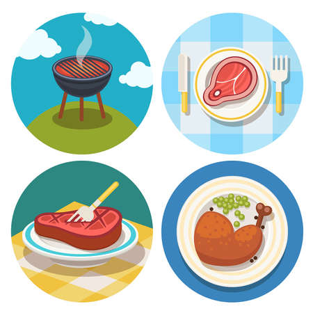 vector set of grill and meat icons  Vector