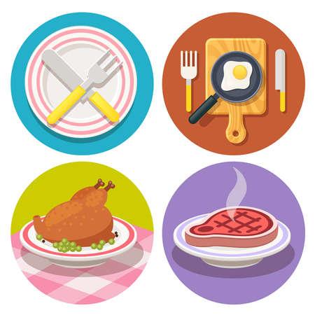 vector set van voedsel en schotel iconen