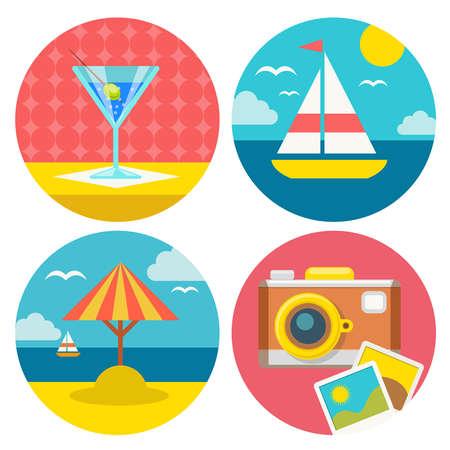 vector set van de zomer vakantie pictogrammen Stock Illustratie