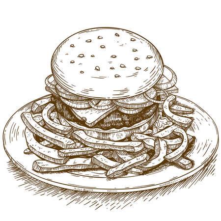 vector engraving illustration of hamburger on white background