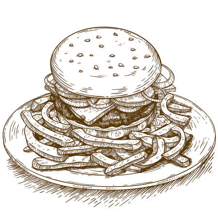 vector engraving illustration of hamburger on white background