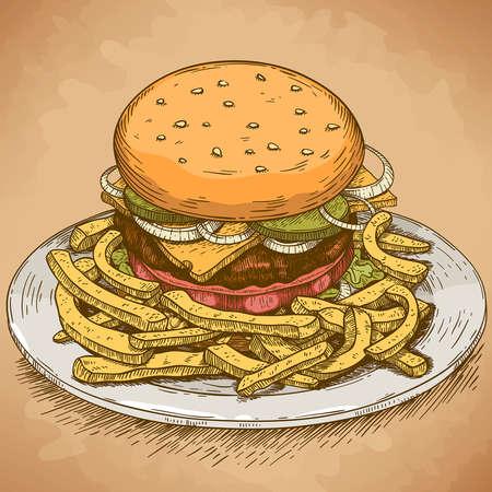 vector graveren illustratie van hamburger in retro stijl
