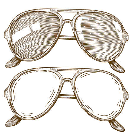 vector engraving illustration of sunglasses on white background Vector