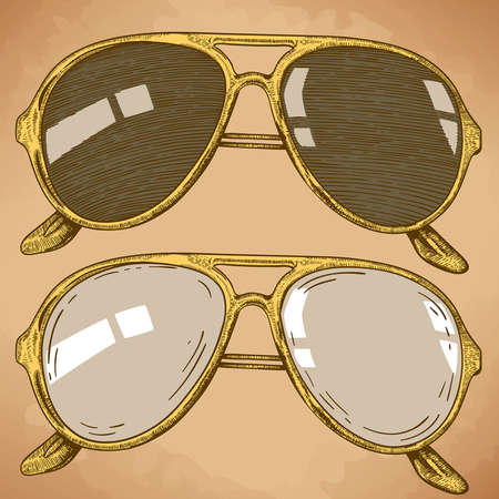 vector engraving illustration of sunglasses in retro style Vector