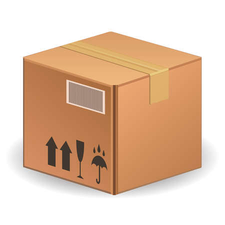 illustration of cardboard box isolated on white background Vector