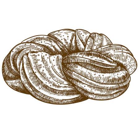 sweet bun: vector illustration of engraving bun on white background Illustration