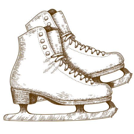 Engraving antique illustration of ice skating shoes and blades isolated on white background