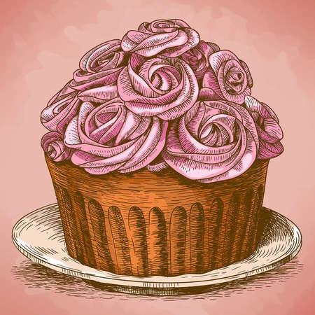 pink cake: vector illustration of engraving pink cake