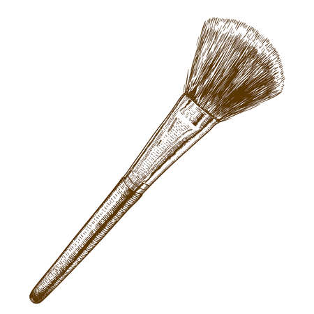 makeup brush: Vector engraving antique illustration of make-up brush on white background