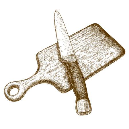 cuchillo: Vector ejemplo antiguo grabado de la placa y el cuchillo de corte aislado en fondo blanco