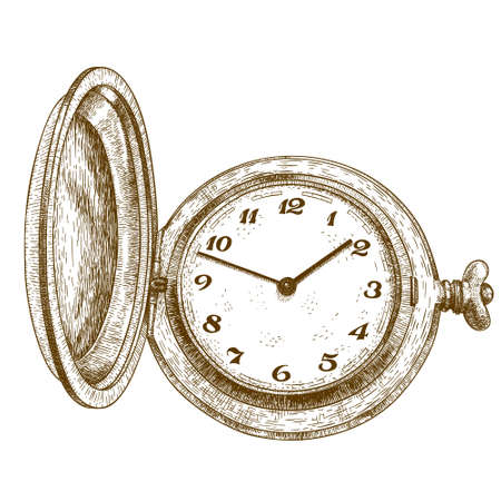 engraved image: antique engraving illustration of pocket watch isolated on white background