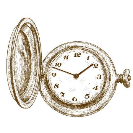 Ejemplo antiguo grabado de reloj de bolsillo aislado en el fondo blanco Foto de archivo - 52235451