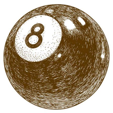 bola ocho: ejemplo antiguo grabado de billar bola ocho aislada en el fondo blanco