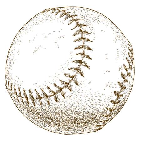 spot lit: antique engraving illustration of baseball ball isolated on white background