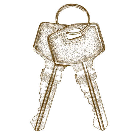 latchkey: Vector antique engraving illustration of two keys isolated on white background