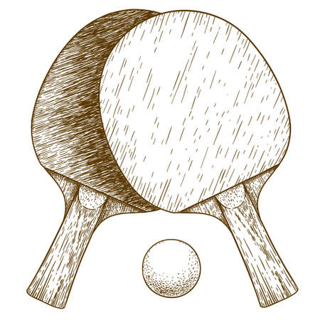 Vector antique engraving illustration of ping pong table tennis two rackets and ball isolated on white background