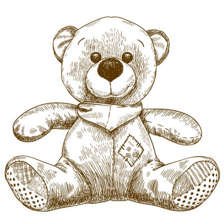 Vector antique engraving illustration of teddy bear toy isolated on white background Illustration