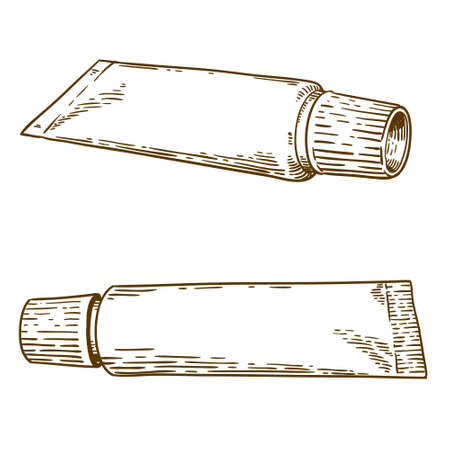 bocetos de personas: Vector antique engraving illustration of two tubes of toothpaste isolated on white background Vectores