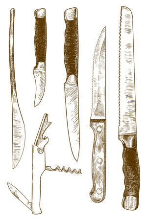 Vector antique engraving drawing illustration of set of kitchen metal knives isolated on a white background 向量圖像