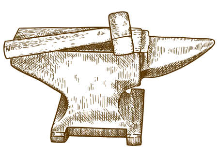 Vector antique engraving drawing illustration of anvil and hammer isolated on white background