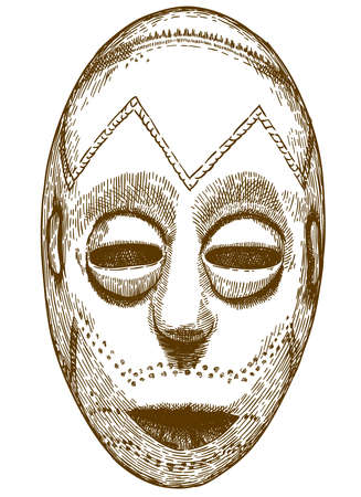 Vector antique engraving drawing illustration of traditional african mask isolated on white background