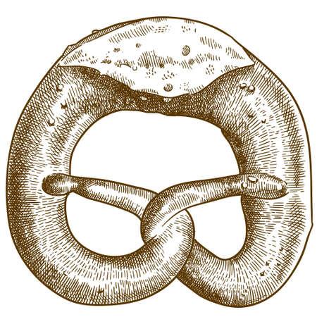 Vector antique engraving drawing illustration of tasty pretzel bread or bretzel isolated on white background
