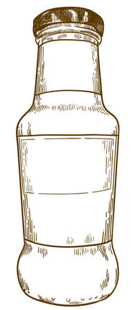 Vector antique engraving drawing illustration of sauce bottle isolated on white background