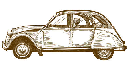 Vector antique engraving drawing illustration of retro vintage classic old car isolated on white background