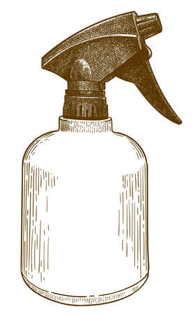 Vector antique engraving drawing illustration of spray bottle isolated on white background