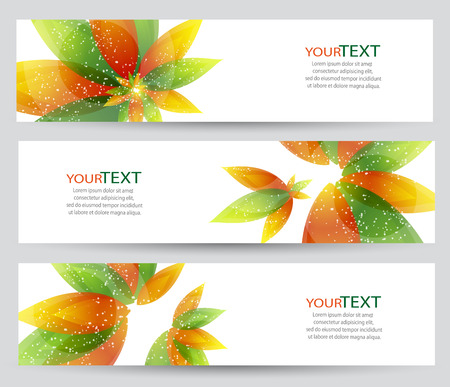 Set of three banners with abstract floral elements.