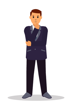 Standing businessman making thinking gesture. Front view. Flat style vector illustration isolated on white background. Illustration