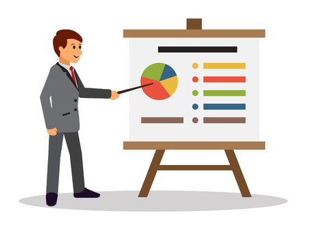 Young businessman making a presentation near whiteboard with infographics. Shows business charts and graphs on seminar. Board at a presentation with information. Vector Flat Illustration.