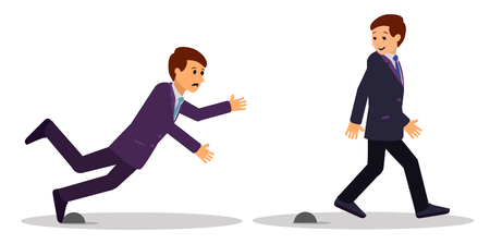 Two businessmen pass through obstacles. Business concept vector illustration.