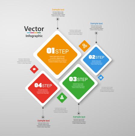 Infographie en quatre étapes avec des carrés colorés. Graphique vectoriel, diagramme, graphique avec étapes, options, pièces, processus avec éléments carrés. Entreprise de vecteur. Eps 10 Vecteurs