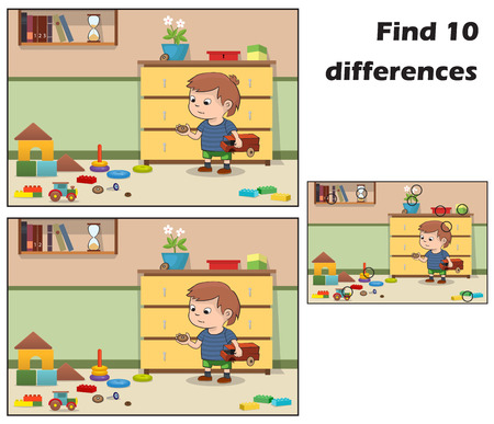 Little boy playing with toys in the room. Find 10 differences. Educational game for children. Cartoon vector illustration. Vector eps 10