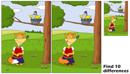 The fox is looking for a bird with cheese. Find 10 differences. Educational game for children. Cartoon vector illustration. Eps 10